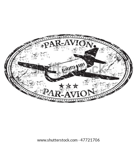 Black grunge rubber stamp with plane silhouette and the text par avion written inside the stamp