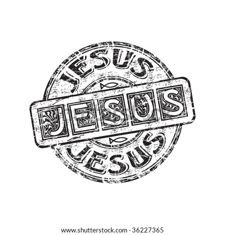 Black grunge rubber stamp with small Jesus fish symbols and the name Jesus written inside the stamp