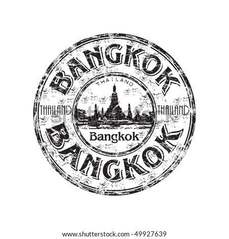 Black grunge rubber stamp with the name of Bangkok the capital of Thailand written inside the stamp
