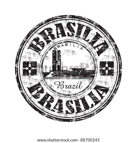 Black grunge rubber stamp with the name of Brasilia the capital of Brazil written inside the stamp