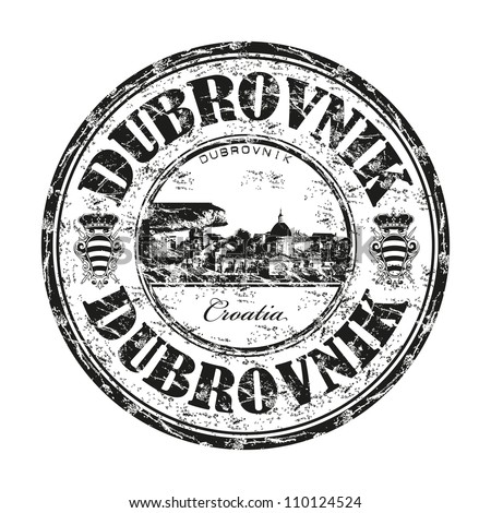 Black grunge rubber stamp with the name of Dubrovnik city from the Adriatic Sea on the coast of Croatia