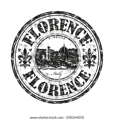 Black grunge rubber stamp with the name of Florence city the capital of the Italian region of Tuscany and of the province of Florence in Italy