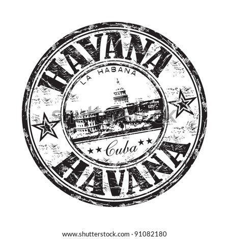 Black grunge rubber stamp with the name of Havana the capital of Cuba written inside the stamp