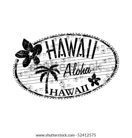 Black grunge rubber stamp with the name of Hawaii islands written inside the stamp