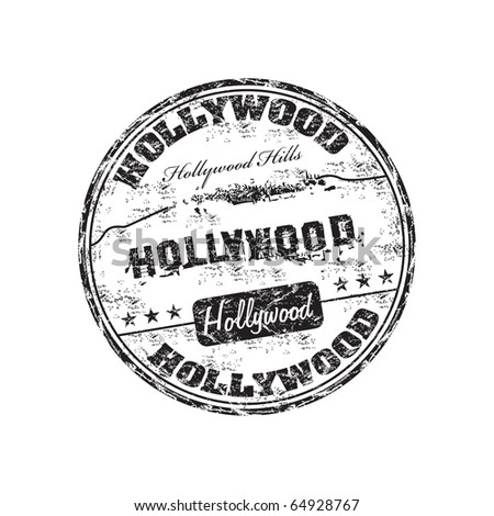 Black grunge rubber stamp with the name of Hollywood written inside the stamp