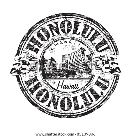 Black grunge rubber stamp with the name of Honolulu city the capital of Hawaii