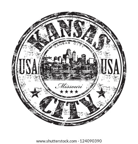 Black grunge rubber stamp with the name of Kansas City from United States of America
