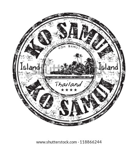 Black grunge rubber stamp with the name of Ko Samui island from Thailand