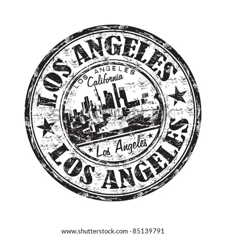 Black grunge rubber stamp with the name of Los Angeles city from California written inside the stamp