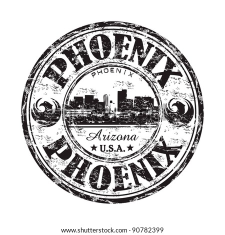 Black grunge rubber stamp with the name of Phoenix city the capital of Arizona from the United States of America