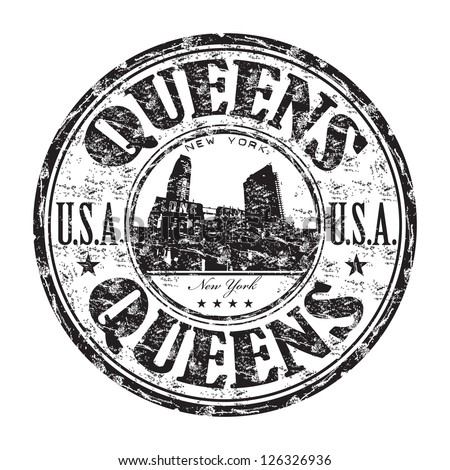Black grunge rubber stamp with the name of Queens borough from New York City written inside the stamp