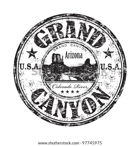 Black grunge rubber stamp with the name of the Grand Canyon from United States of America written inside the stamp