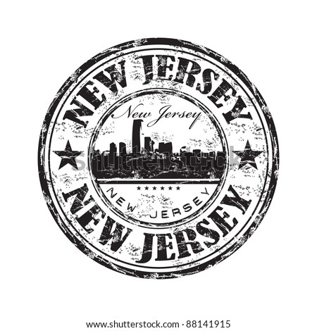 Black grunge rubber stamp with the name of the state of New Jersey written inside the stamp