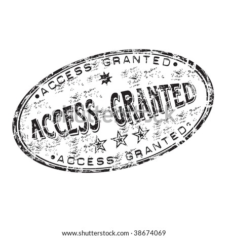 Black grunge rubber stamp with the text access granted written inside the stamp