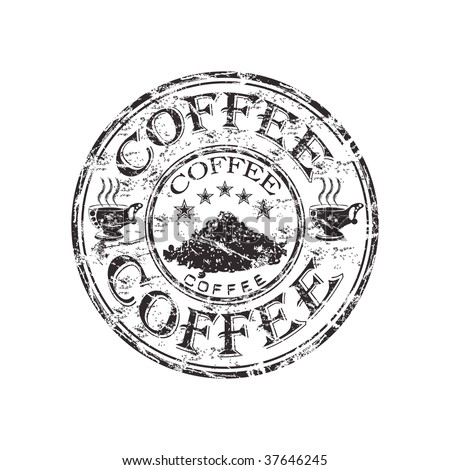 Black grunge rubber stamp with two coffee cups, coffee beans and the word coffee written inside the stamp - stock vector
