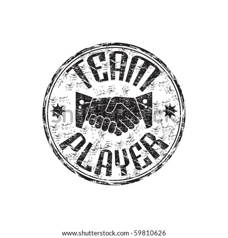Black grunge rubber stamp with two shaking hands and the text team player written inside the stamp