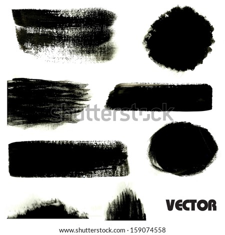 Black grunge stripes, spots and circles. Vector banners for your design.