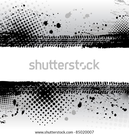 Black grunge tire track background