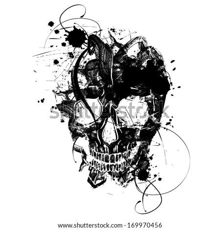 black grunge vector skull