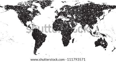 Black grunge world map
