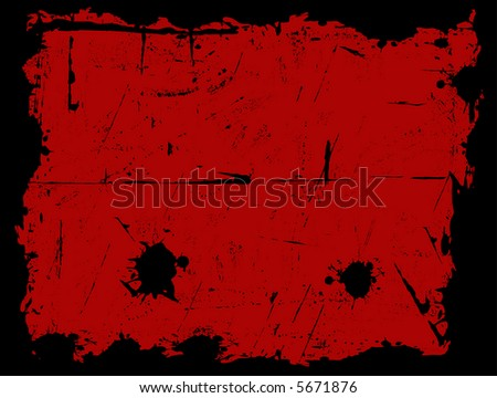 Black Grunged Border with a Red background - stock vector