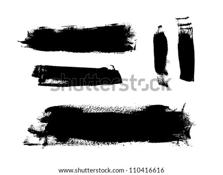 Black grungy vector abstract hand-painted brush strokes