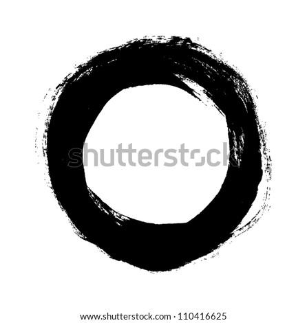 Black grungy vector abstract hand-painted circle