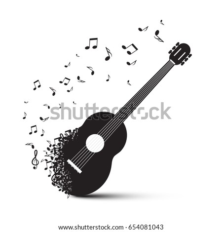 black guitar with notes