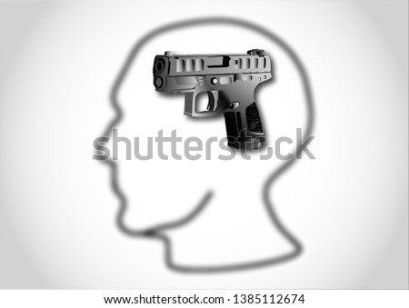 Black gun in the head, thoughts of a man, killer on a gray background