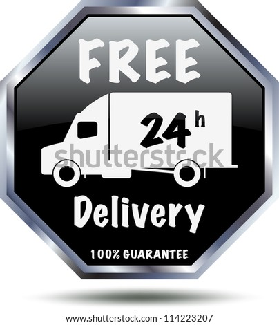 Black 24 h free delivery sign. Vector