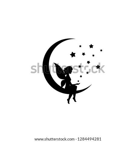 black half moon and stars and