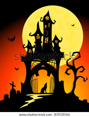 Black halloween castle. Vector cartoon illustration.