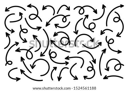 Black Hand Drawn Arrows Set on White Background. Arrow, Cursor Icon. Vector Pointers Collection. Back, Next Web Page Sign.