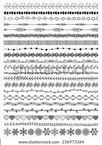 Black Hand-Drawn Doodle Seamless Borders. Decorative Flourish. Vector Illustration.