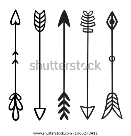 Black hand drawn doodles arrows. Set of hipster ethnic tribal vector elements. For print, poster, greeting card #1065278411