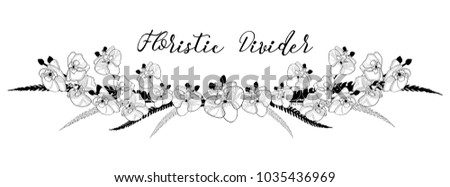 Black Hand Drawn Floral Divider, Line Border with Delicate Orchid Flowers. Decorative Outlined Vector Illustration. Flower Design Elements.
