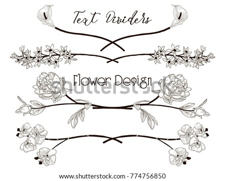 black hand drawn floral text