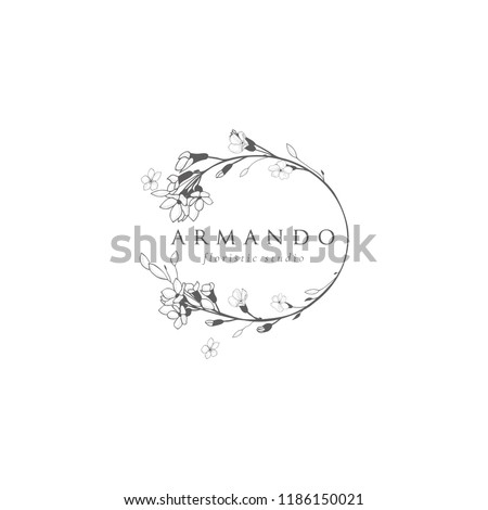 Black Hand Drawn Floristic Feminine Brand Logo Template, Frame with Delicate Flowers, Branches, Plants. Decorative Outlined Vector Illustration. Floral Design Element.