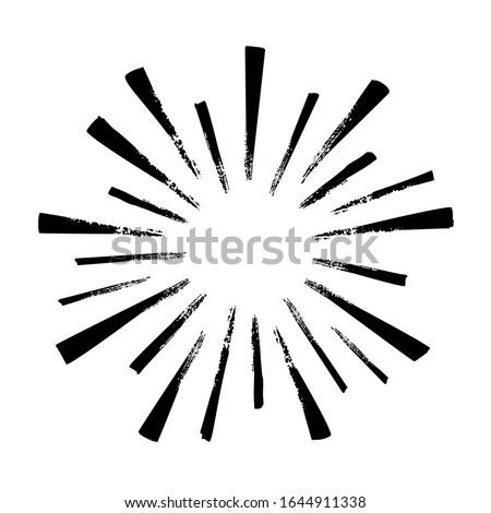 Black hand drawn rays of firework isolated on white background. Vintage sunburst explosion.   Сток-фото ©