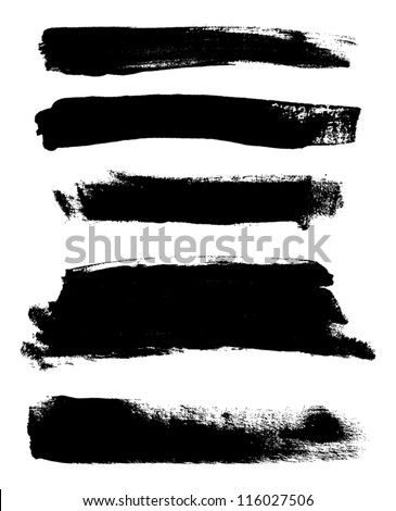 Black hand painted vector abstract brush strokes collection