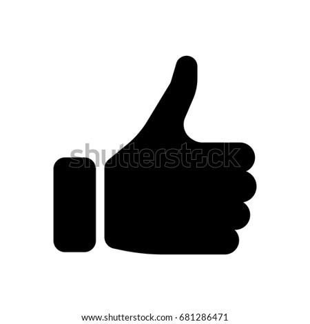 Black hand silhouette with thumb up. Gesture of like, agree, yes, approval or encouragement. Simple flat vector illustration.