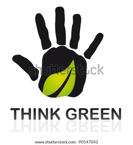 black hand with green leaf over white background. vector