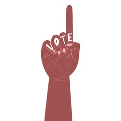 black hand with the inscription Vote. Election campaign. Vector illustration in a hand-drawn style.