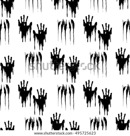black handprints on white