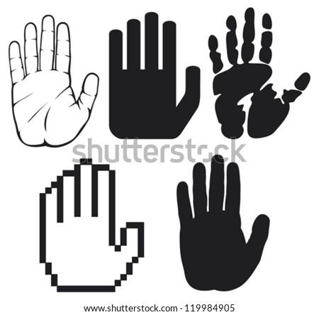 black hands (black print of a hand, hand print, hand print shape, stop hand silhouette )