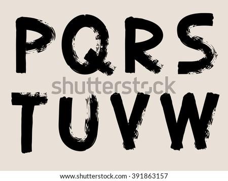 Black Handwritten Alphabets - Font - Vector Illustration