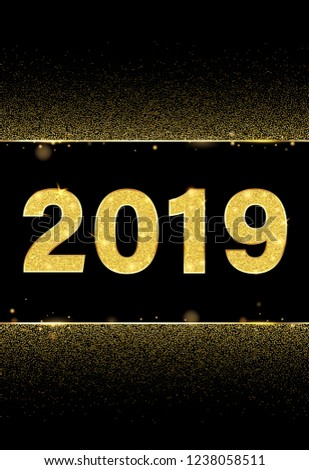 Black Happy New Year 2019 shiny poster with golden figures. Vector background. #1238058511