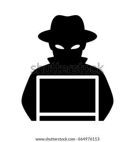 black hat hacker with laptop