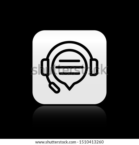 Black Headphones with speech bubble chat icon isolated on black background. Support customer service, hotline, call center, faq, maintenance. Silver square button. Vector Illustration