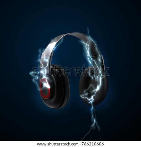 Black headphones with thunderbolts. 3d realistic vector illustration of earphones. Technology device for listening music. Dj equipment mockup. Audio gadget. Design element for electro party poster.
